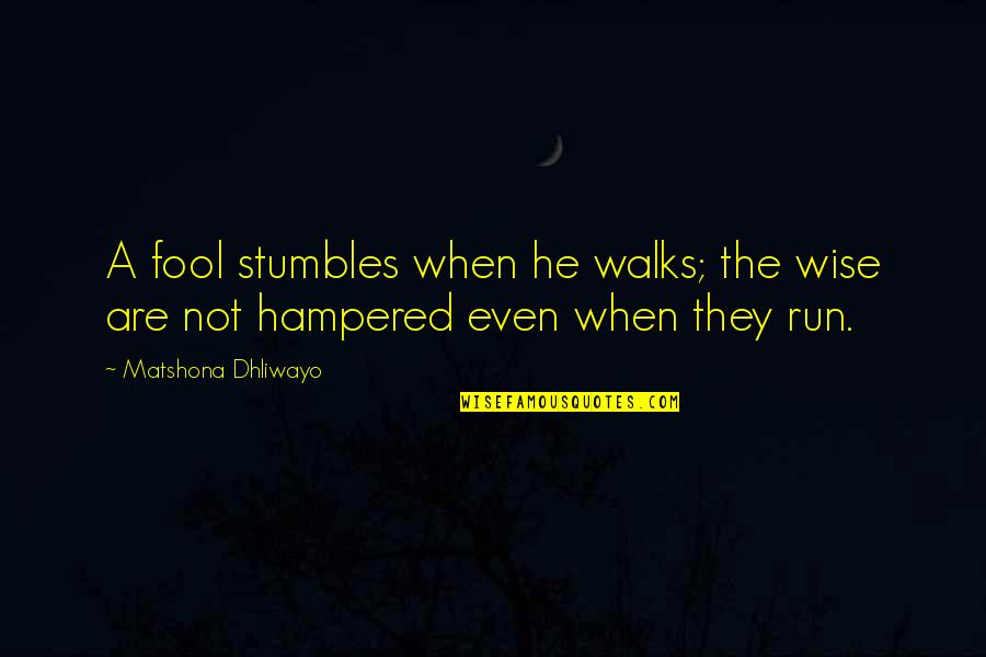 Fool Person Quotes By Matshona Dhliwayo: A fool stumbles when he walks; the wise