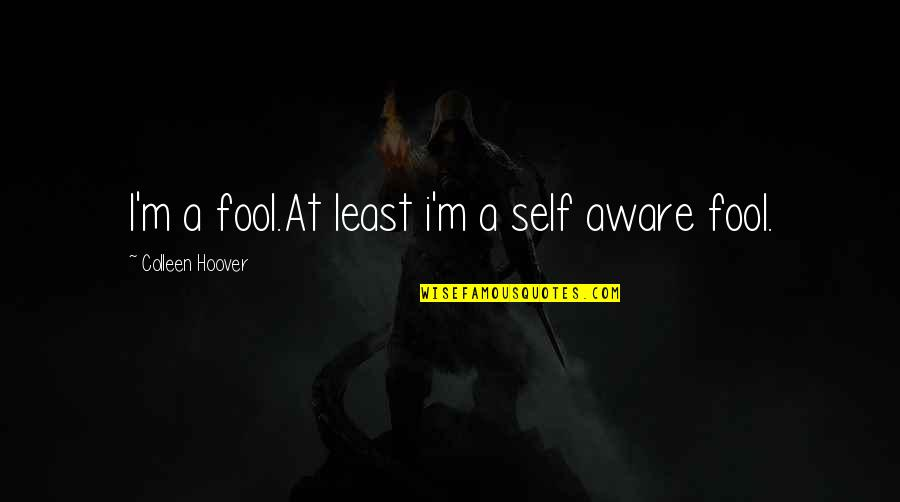 Fool'em Quotes By Colleen Hoover: I'm a fool.At least i'm a self aware