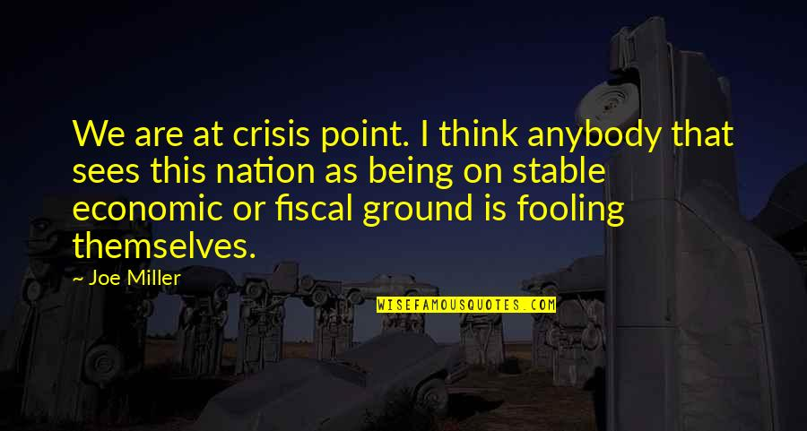 Fooling Quotes By Joe Miller: We are at crisis point. I think anybody