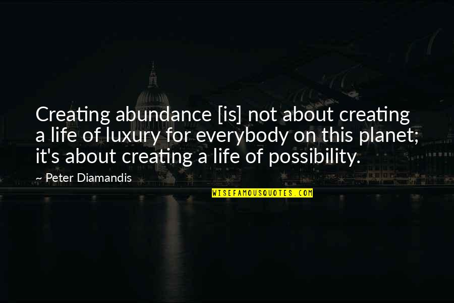 Football And Brotherhood Quotes By Peter Diamandis: Creating abundance [is] not about creating a life