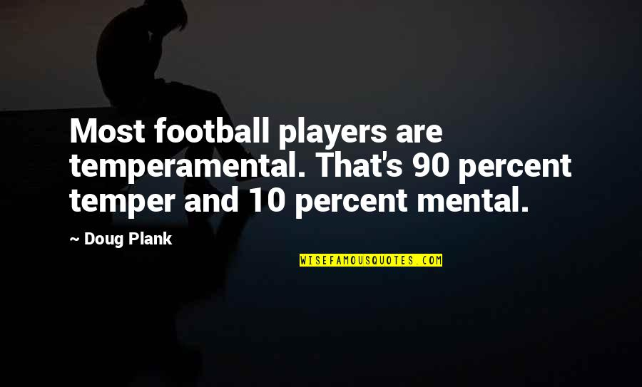 Football Players Quotes By Doug Plank: Most football players are temperamental. That's 90 percent