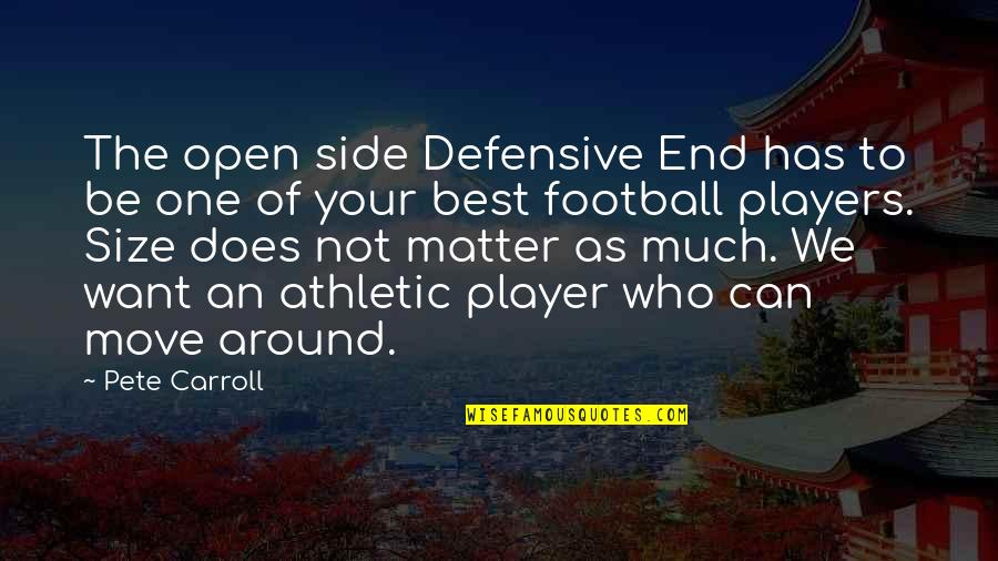 Football Players Quotes By Pete Carroll: The open side Defensive End has to be