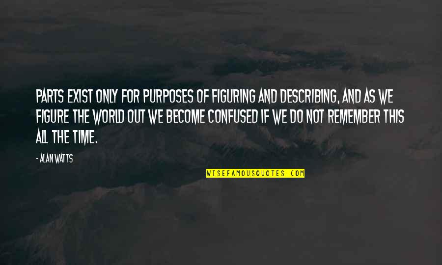 For All Time Quotes By Alan Watts: Parts exist only for purposes of figuring and