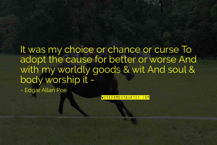 For Better Or Worse Quotes By Edgar Allan Poe: It was my choice or chance or curse