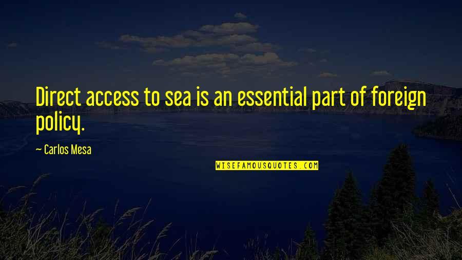 Foreign Policy Quotes By Carlos Mesa: Direct access to sea is an essential part