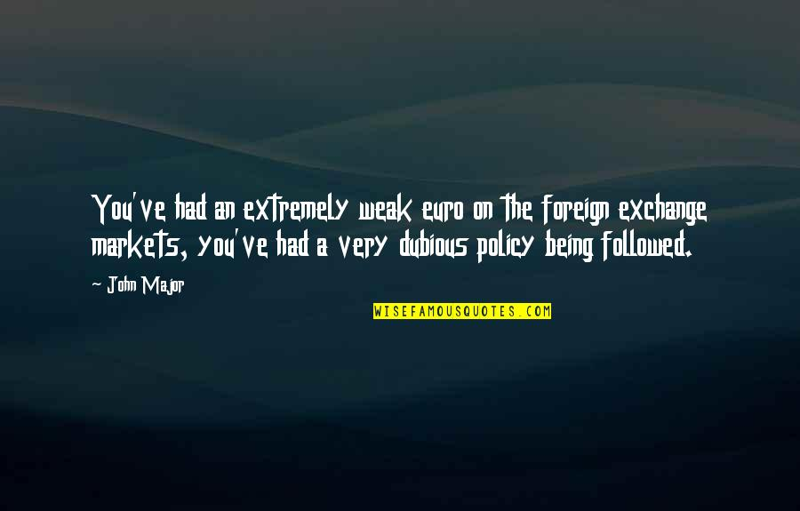 Foreign Policy Quotes By John Major: You've had an extremely weak euro on the