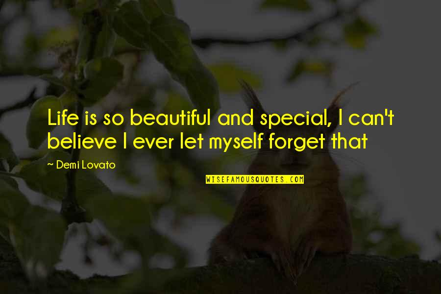 Forget Life Quotes By Demi Lovato: Life is so beautiful and special, I can't