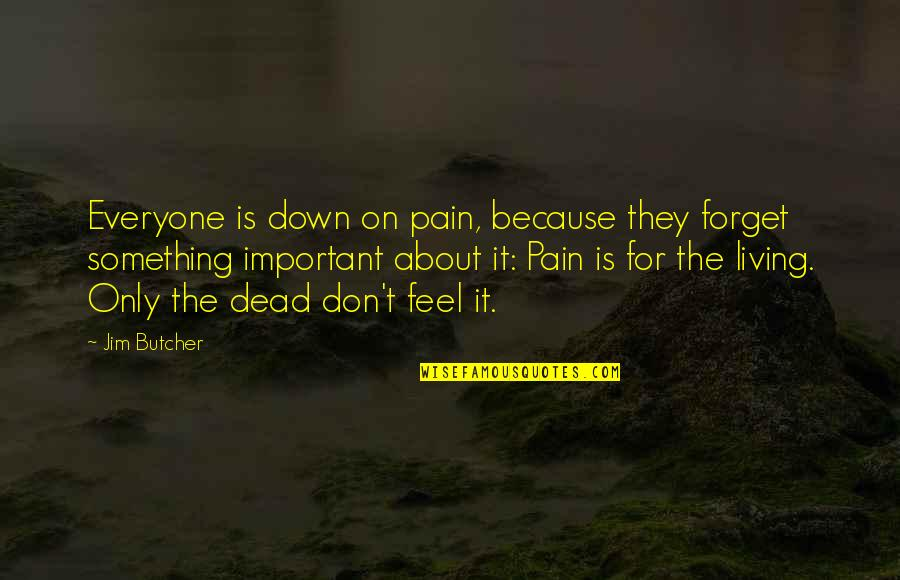 Forget Life Quotes By Jim Butcher: Everyone is down on pain, because they forget