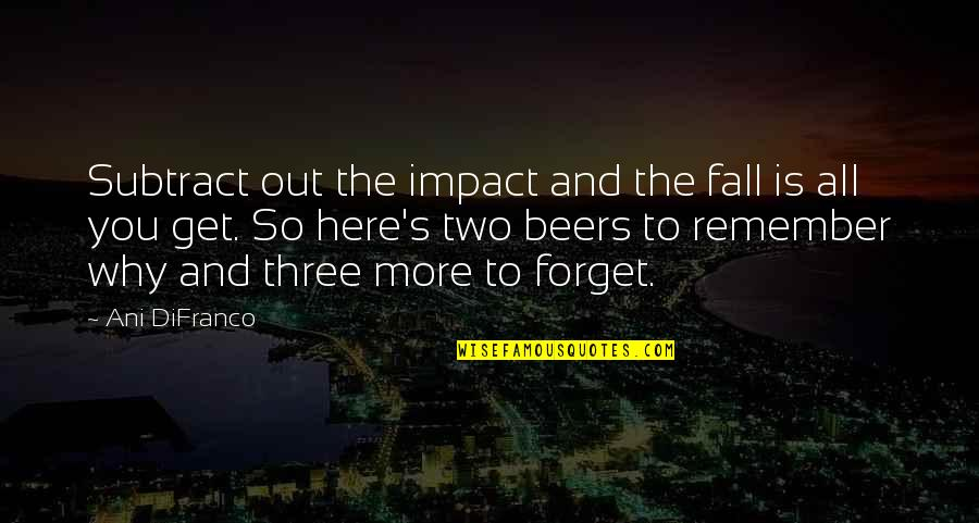Forget You All Quotes By Ani DiFranco: Subtract out the impact and the fall is