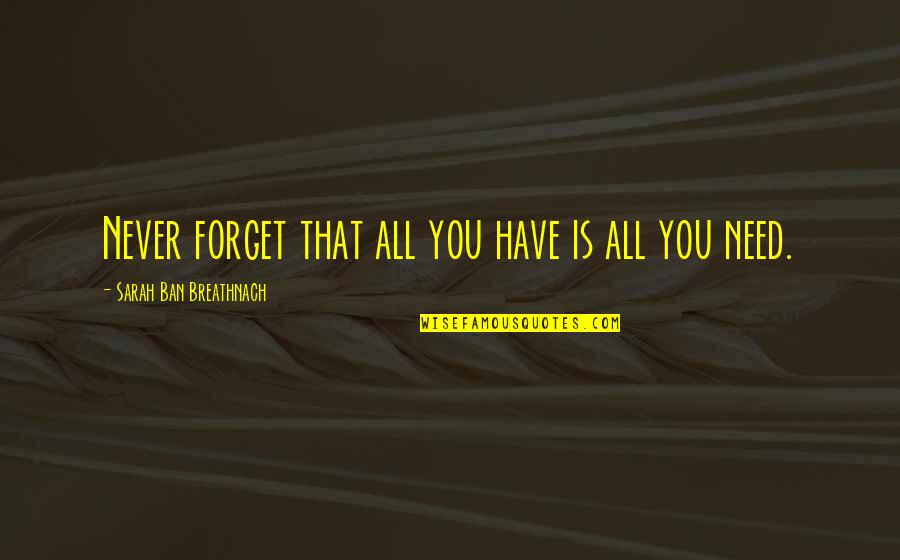 Forget You All Quotes By Sarah Ban Breathnach: Never forget that all you have is all