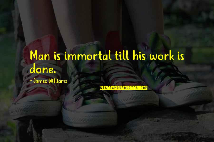 Formality Friendship Quotes By James Williams: Man is immortal till his work is done.