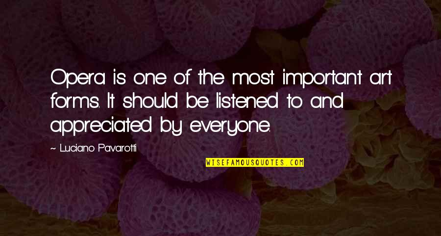Forms Of Art Quotes By Luciano Pavarotti: Opera is one of the most important art