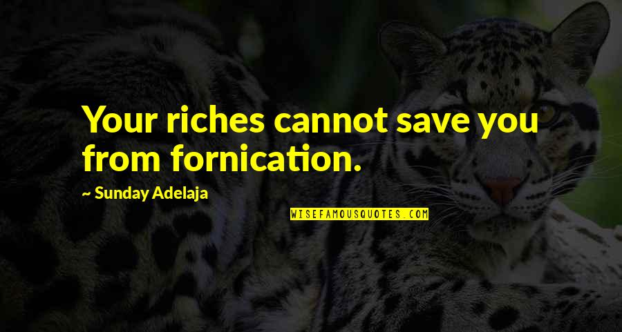 Fornication's Quotes By Sunday Adelaja: Your riches cannot save you from fornication.
