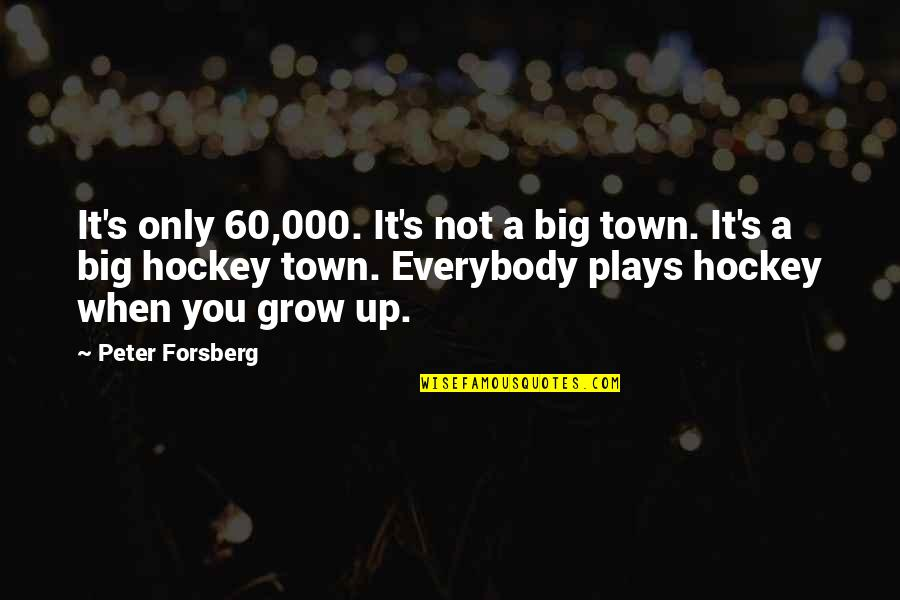 Forsberg Quotes By Peter Forsberg: It's only 60,000. It's not a big town.
