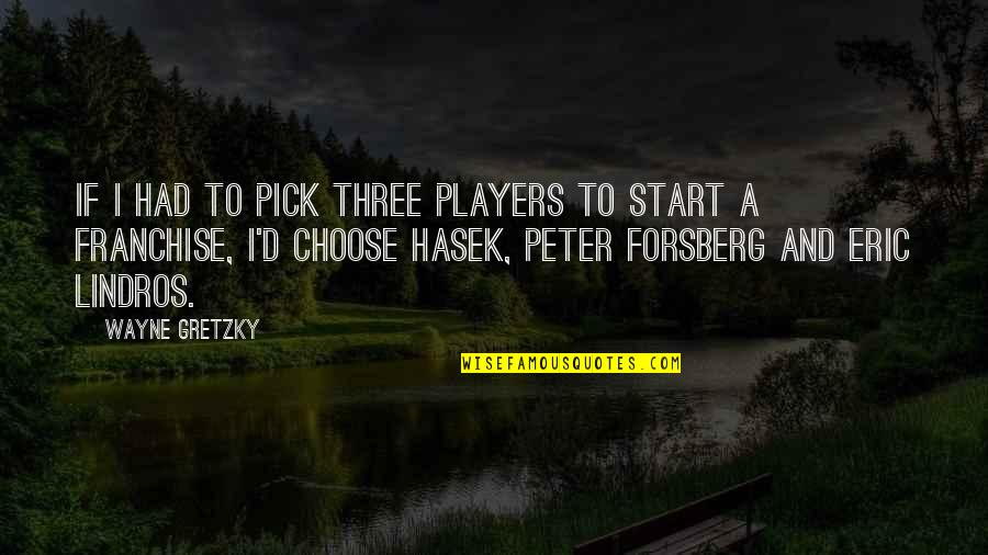 Forsberg Quotes By Wayne Gretzky: If I had to pick three players to