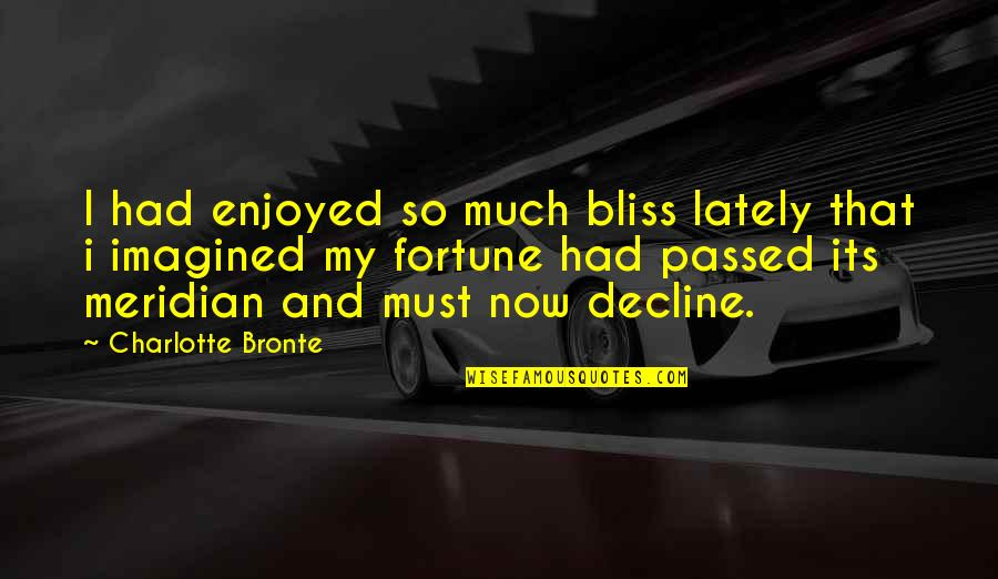 Fortune Quotes By Charlotte Bronte: I had enjoyed so much bliss lately that