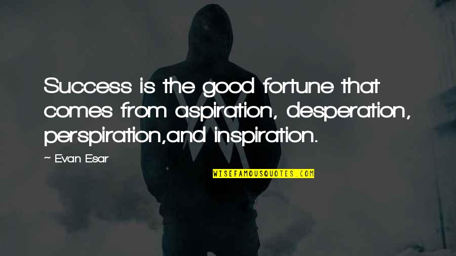 Fortune Quotes By Evan Esar: Success is the good fortune that comes from