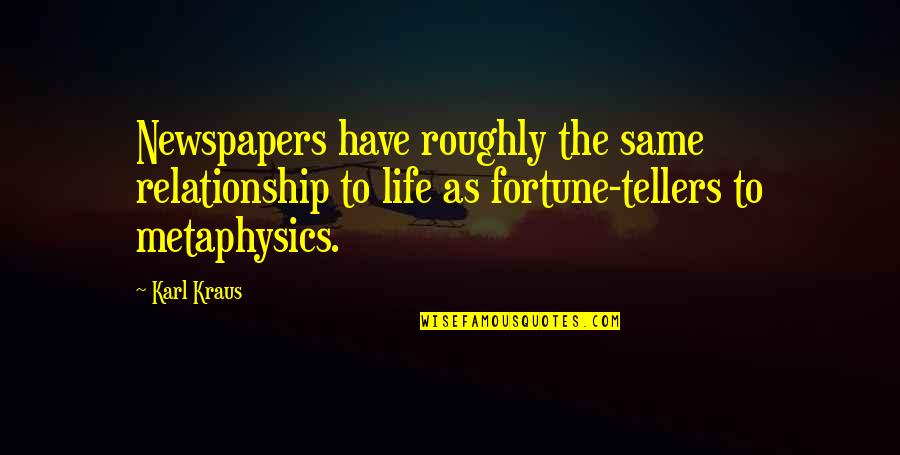 Fortune Quotes By Karl Kraus: Newspapers have roughly the same relationship to life