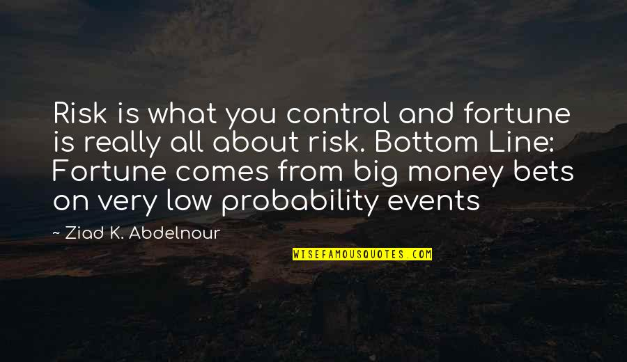 Fortune Quotes By Ziad K. Abdelnour: Risk is what you control and fortune is