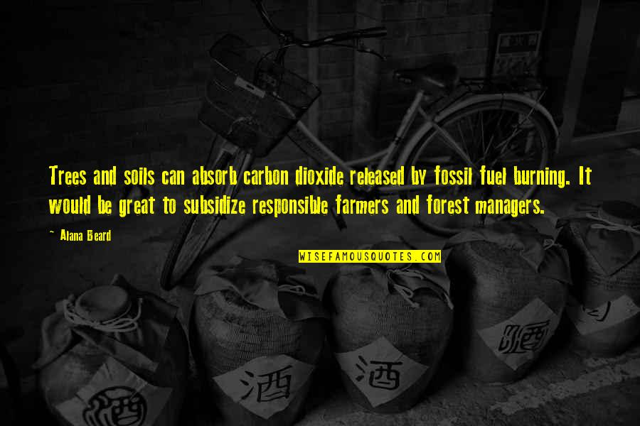 Fossil Quotes By Alana Beard: Trees and soils can absorb carbon dioxide released