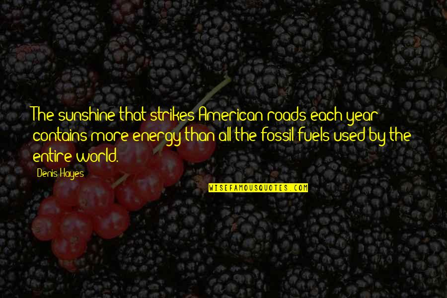 Fossil Quotes By Denis Hayes: The sunshine that strikes American roads each year
