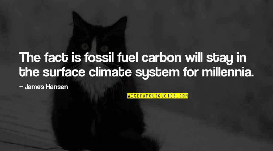 Fossil Quotes By James Hansen: The fact is fossil fuel carbon will stay