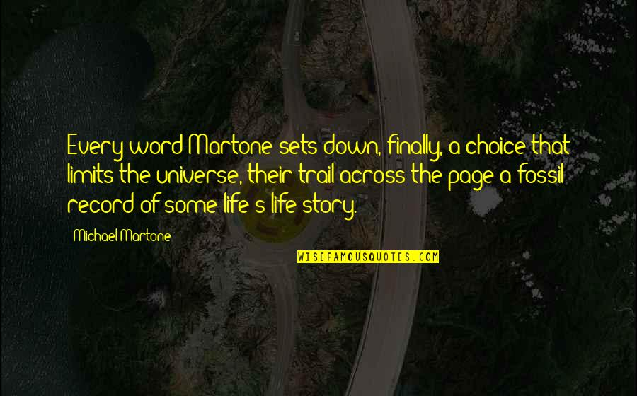 Fossil Quotes By Michael Martone: Every word Martone sets down, finally, a choice