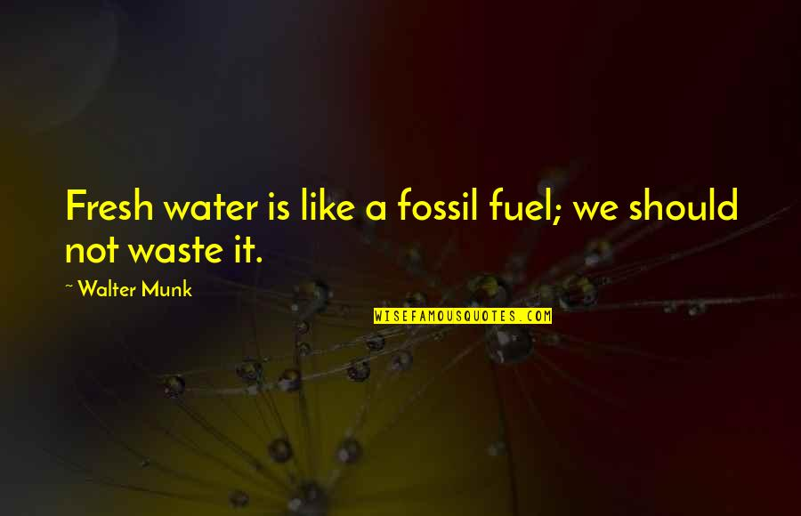 Fossil Quotes By Walter Munk: Fresh water is like a fossil fuel; we