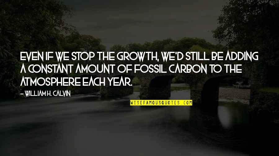 Fossil Quotes By William H. Calvin: Even if we stop the growth, we'd still