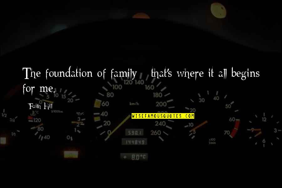 Foundation Of Family Quotes By Faith Hill: The foundation of family - that's where it