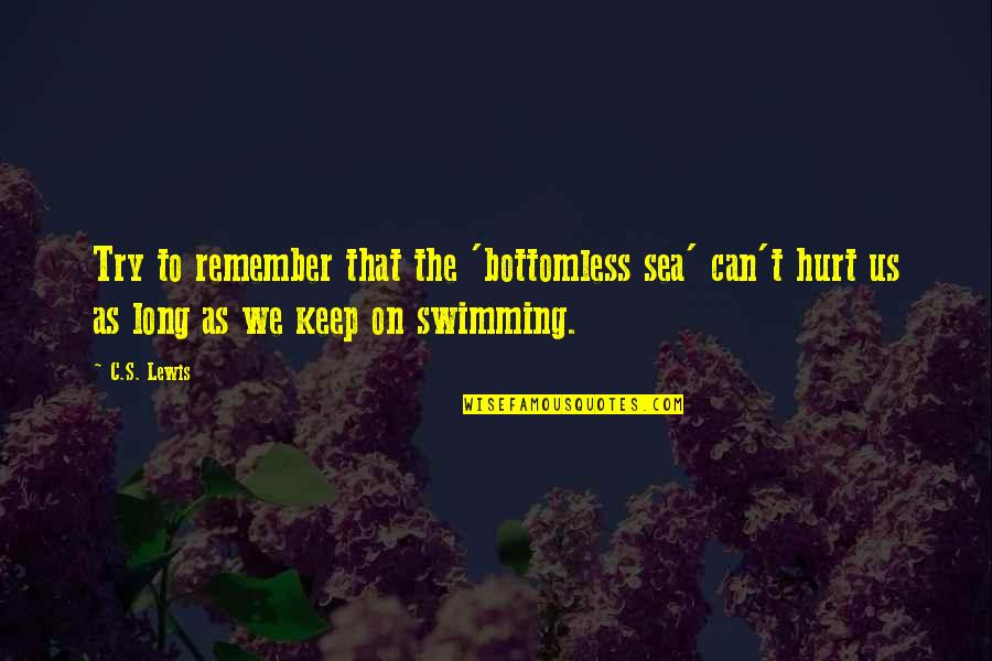 Foxy Girl Quotes By C.S. Lewis: Try to remember that the 'bottomless sea' can't