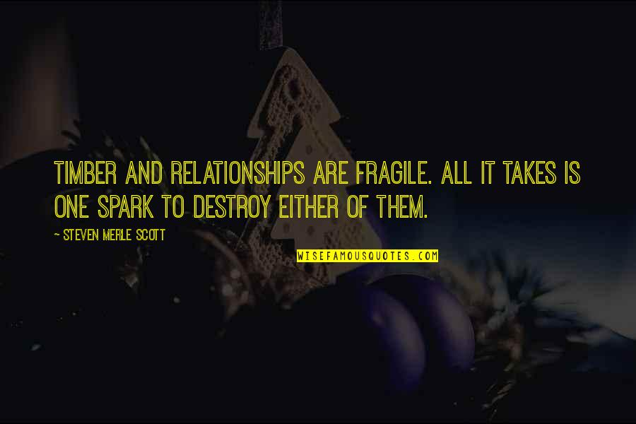 Fragile Relationships Quotes By Steven Merle Scott: Timber and relationships are fragile. All it takes