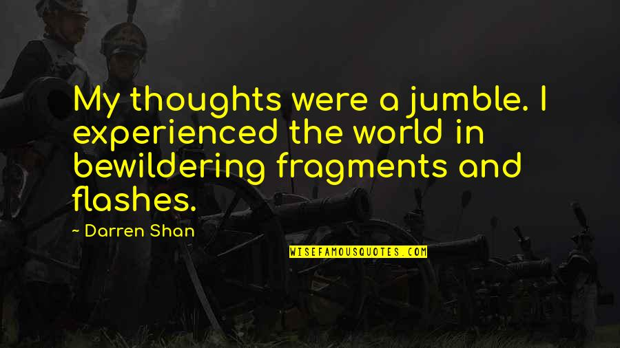 Fragments Quotes By Darren Shan: My thoughts were a jumble. I experienced the