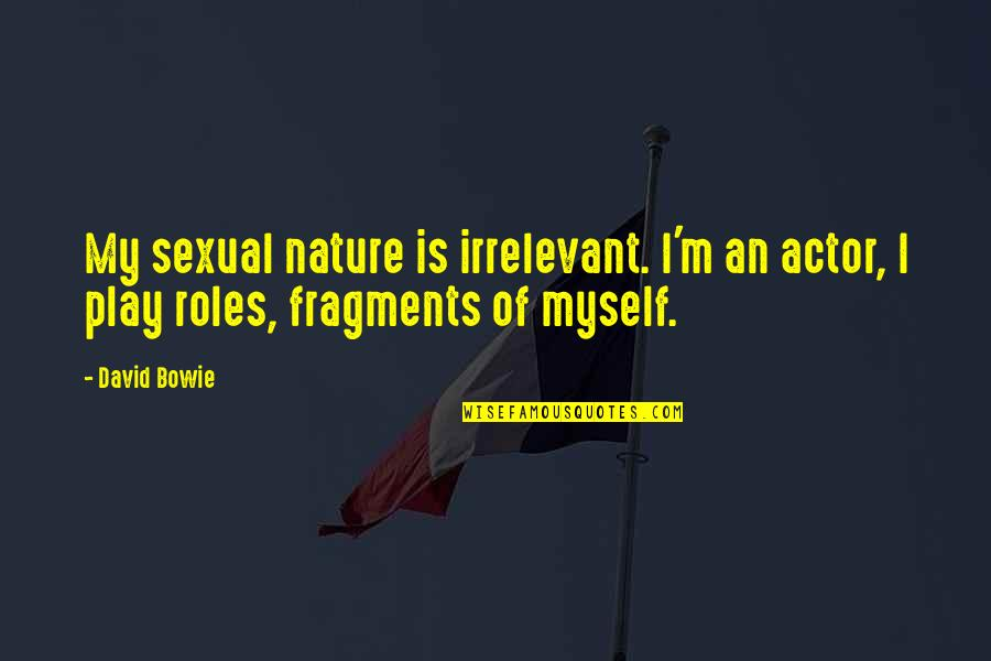 Fragments Quotes By David Bowie: My sexual nature is irrelevant. I'm an actor,