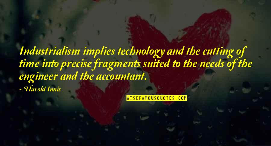 Fragments Quotes By Harold Innis: Industrialism implies technology and the cutting of time