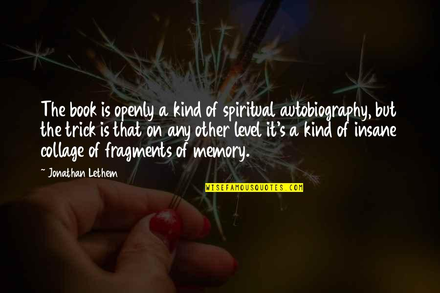 Fragments Quotes By Jonathan Lethem: The book is openly a kind of spiritual