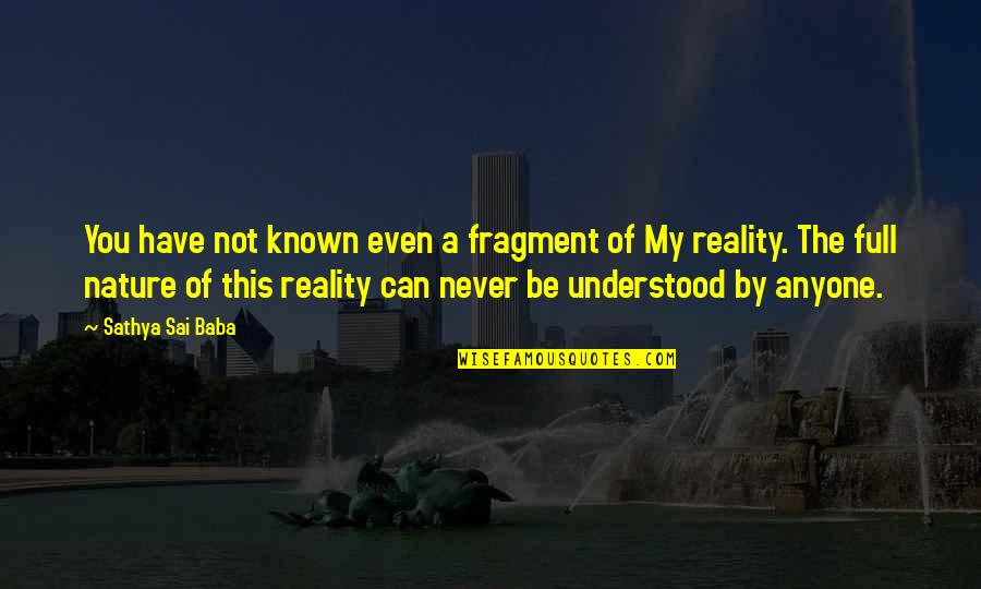 Fragments Quotes By Sathya Sai Baba: You have not known even a fragment of