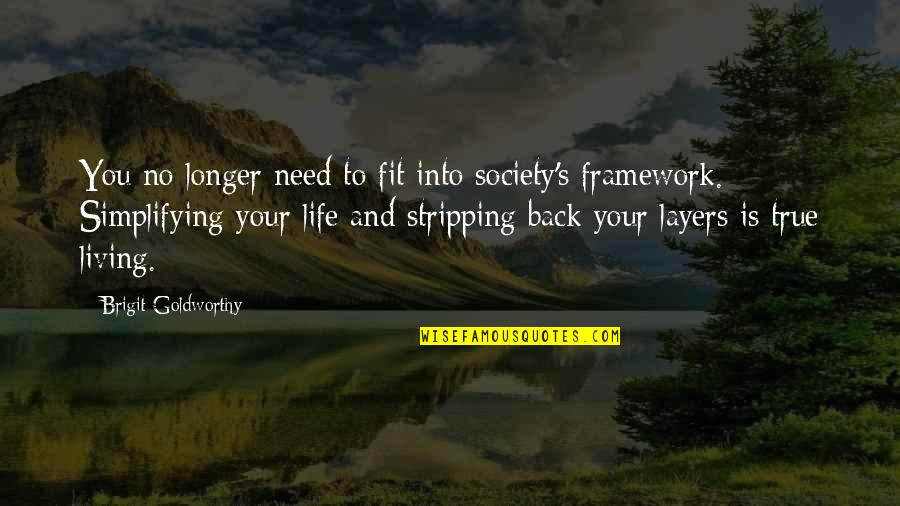Framework Quotes By Brigit Goldworthy: You no longer need to fit into society's