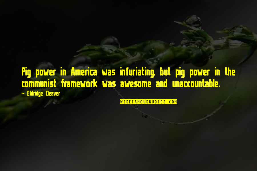 Framework Quotes By Eldridge Cleaver: Pig power in America was infuriating, but pig