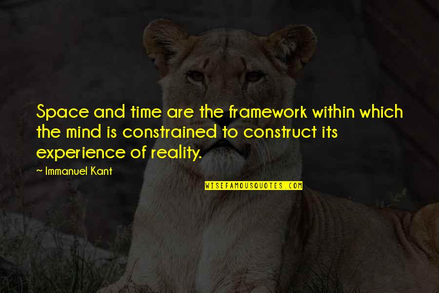 Framework Quotes By Immanuel Kant: Space and time are the framework within which