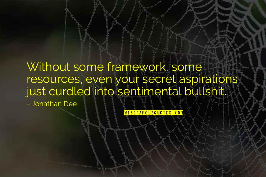 Framework Quotes By Jonathan Dee: Without some framework, some resources, even your secret