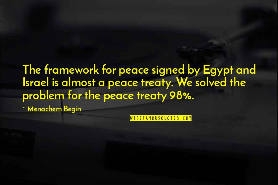 Framework Quotes By Menachem Begin: The framework for peace signed by Egypt and