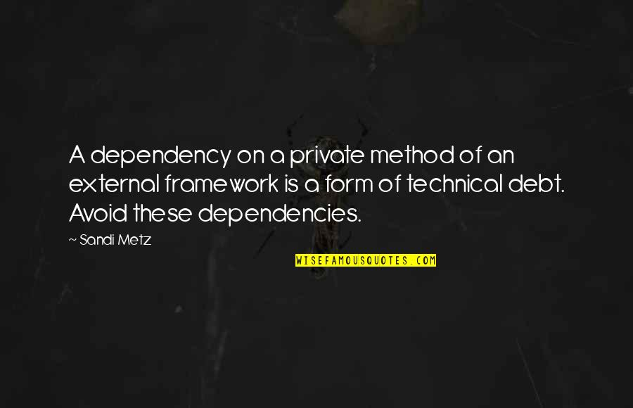 Framework Quotes By Sandi Metz: A dependency on a private method of an