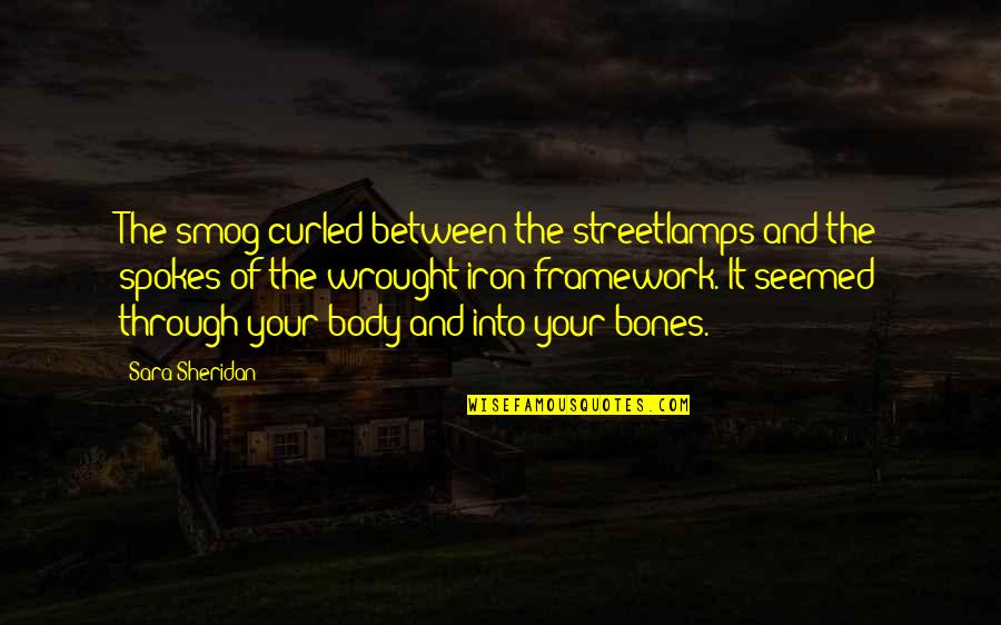 Framework Quotes By Sara Sheridan: The smog curled between the streetlamps and the