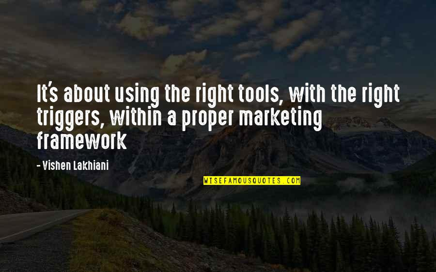 Framework Quotes By Vishen Lakhiani: It's about using the right tools, with the