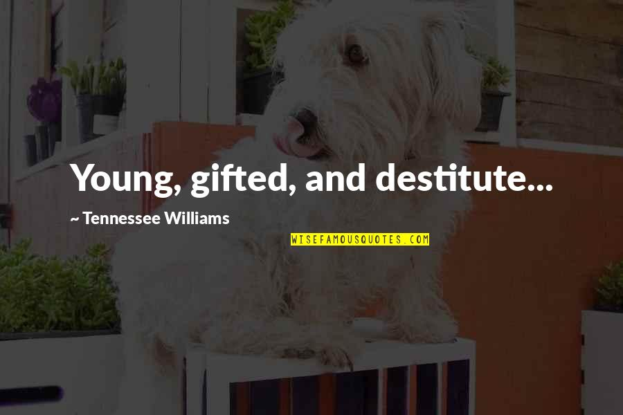 Franciscan Christmas Quotes By Tennessee Williams: Young, gifted, and destitute...