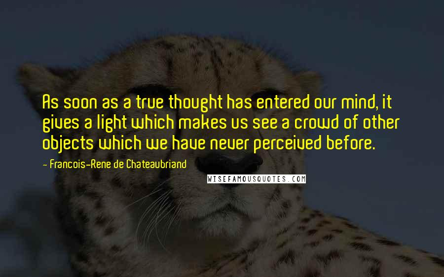 Francois-Rene De Chateaubriand quotes: As soon as a true thought has entered our mind, it gives a light which makes us see a crowd of other objects which we have never perceived before.