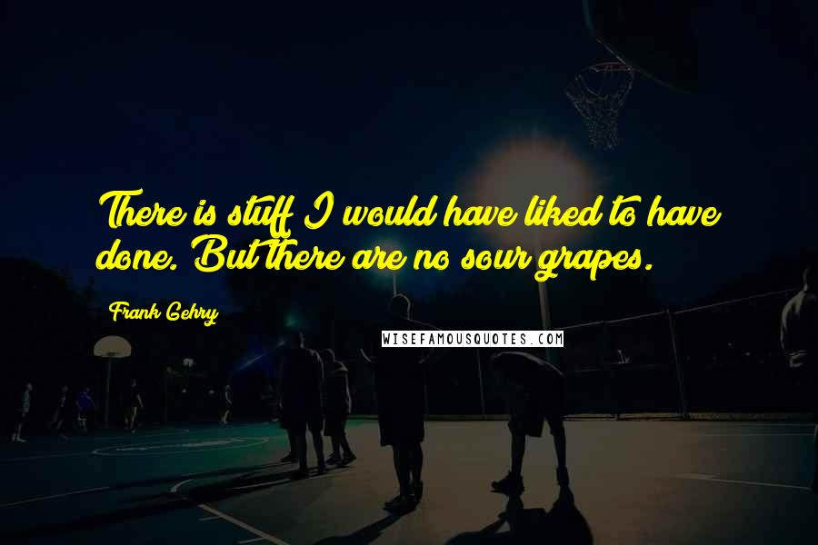 Frank Gehry quotes: There is stuff I would have liked to have done. But there are no sour grapes.