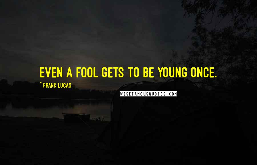 Frank Lucas quotes: Even a fool gets to be young once.