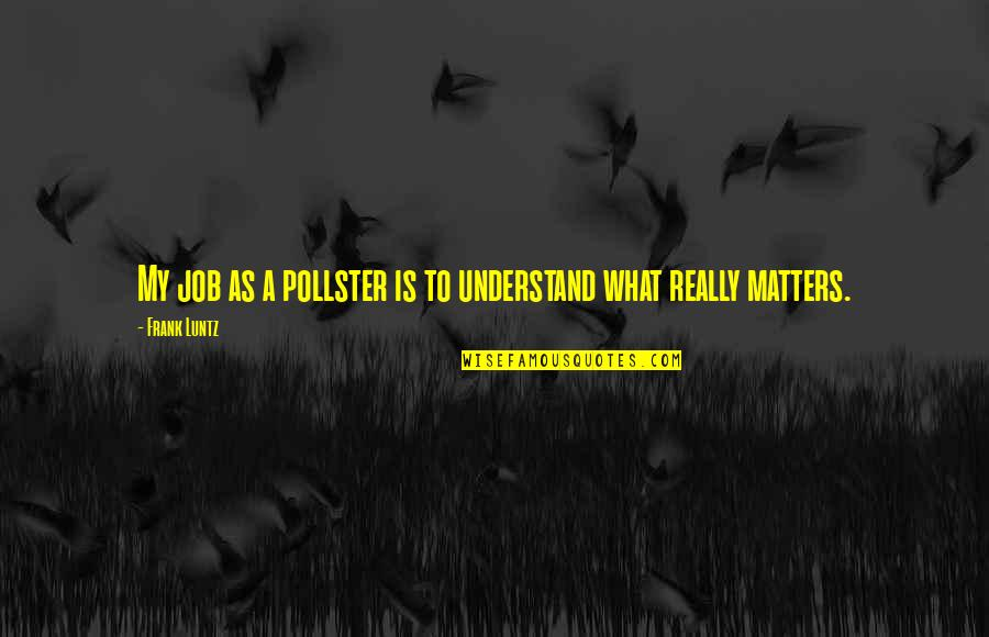 Frank Luntz Quotes By Frank Luntz: My job as a pollster is to understand